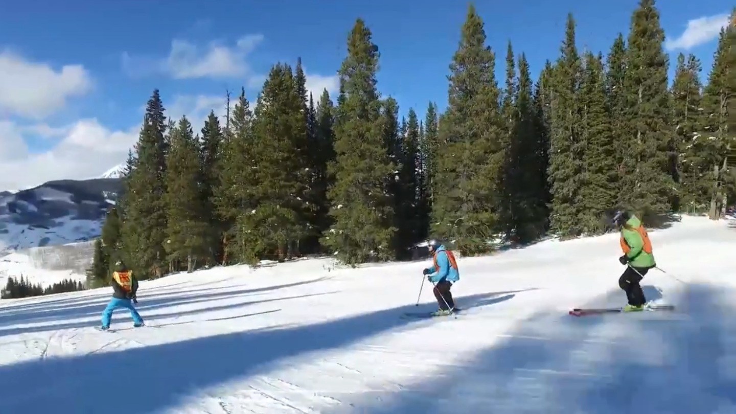 Skiers at Crested Butte