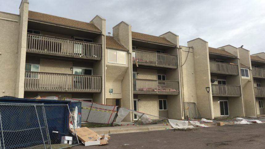Thrive at Park's Edge apartment complex after evacuation.