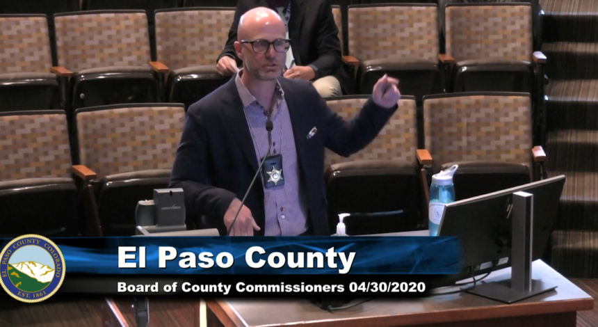 Dr. Leon Kelly speaks to El Paso County comissioners