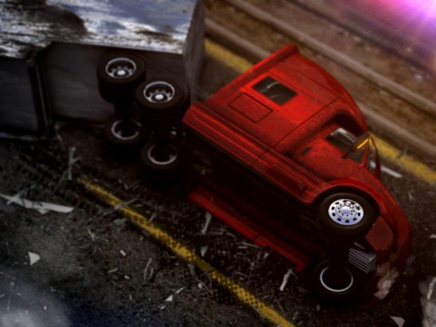 semi truck rollover crash