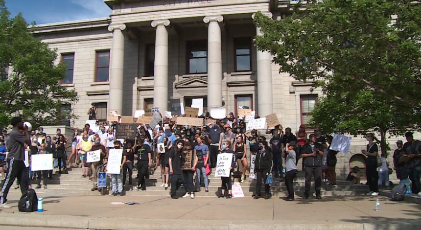 Protest against police brutality at City Hall in Colorado Springs.