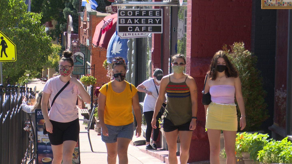 People walking in Manitou Springs in July 2020