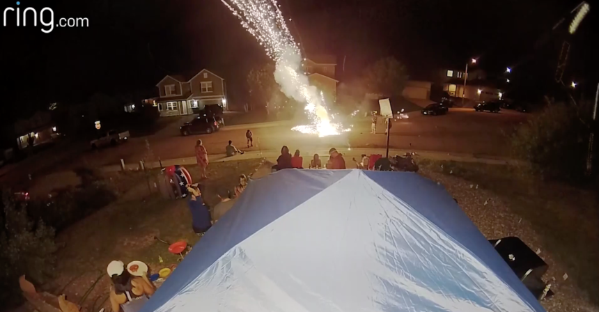 Firework explosion caught on camera