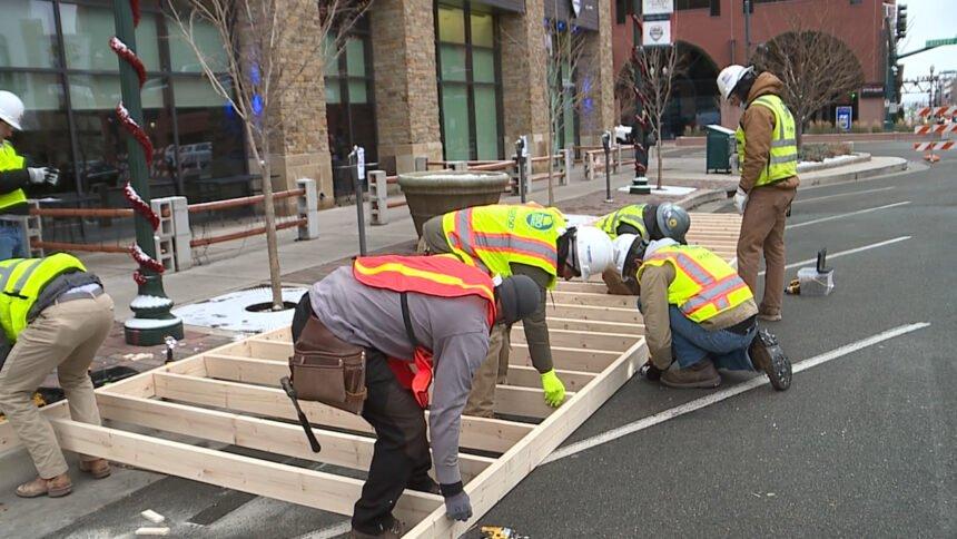 Parklets being Built