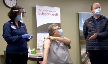 Healthcare workers receive Pfizer COVID-19 vaccine in Fort Collins, CO