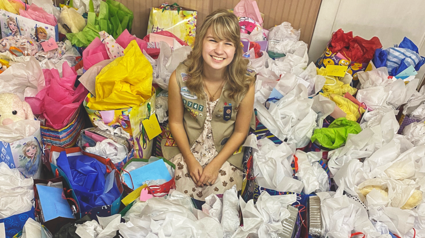Bethany Taullie, La Junta Girl Scout and creator of Bethany's Birthday Bags
