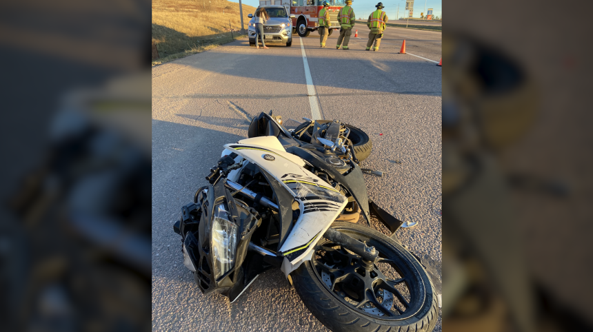 Frank Walton's motorcycle after hit and run crash at Woodmen and Powers in Colorado Springs