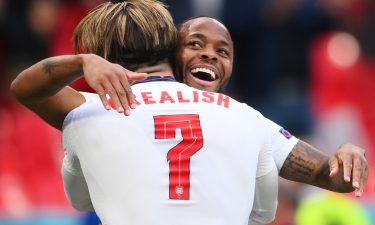Raheem Sterling of England celebrates with Jack Grealish after scoring their side's first goal during the UEFA Euro 2020 Championship Group D match between Czech Republic and England at Wembley Stadium on June 22 in London