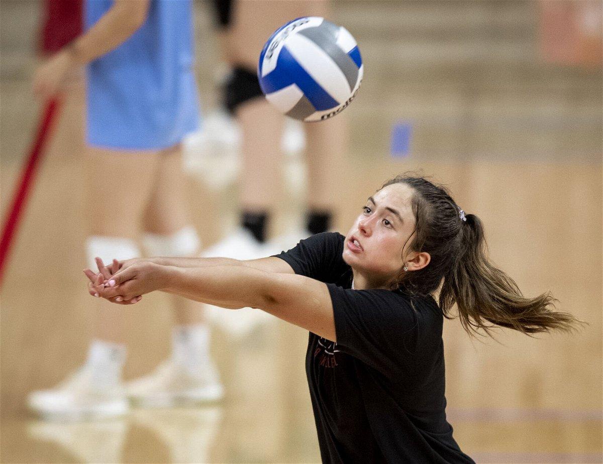 <i>Francis Gardler/Lincoln Journal Star</i><br/>High school volleyball player Caroline Jurevicius lifts a shot during Nebraska's Dream Team volleyball camp. Jurevicius committed to Nebraska.