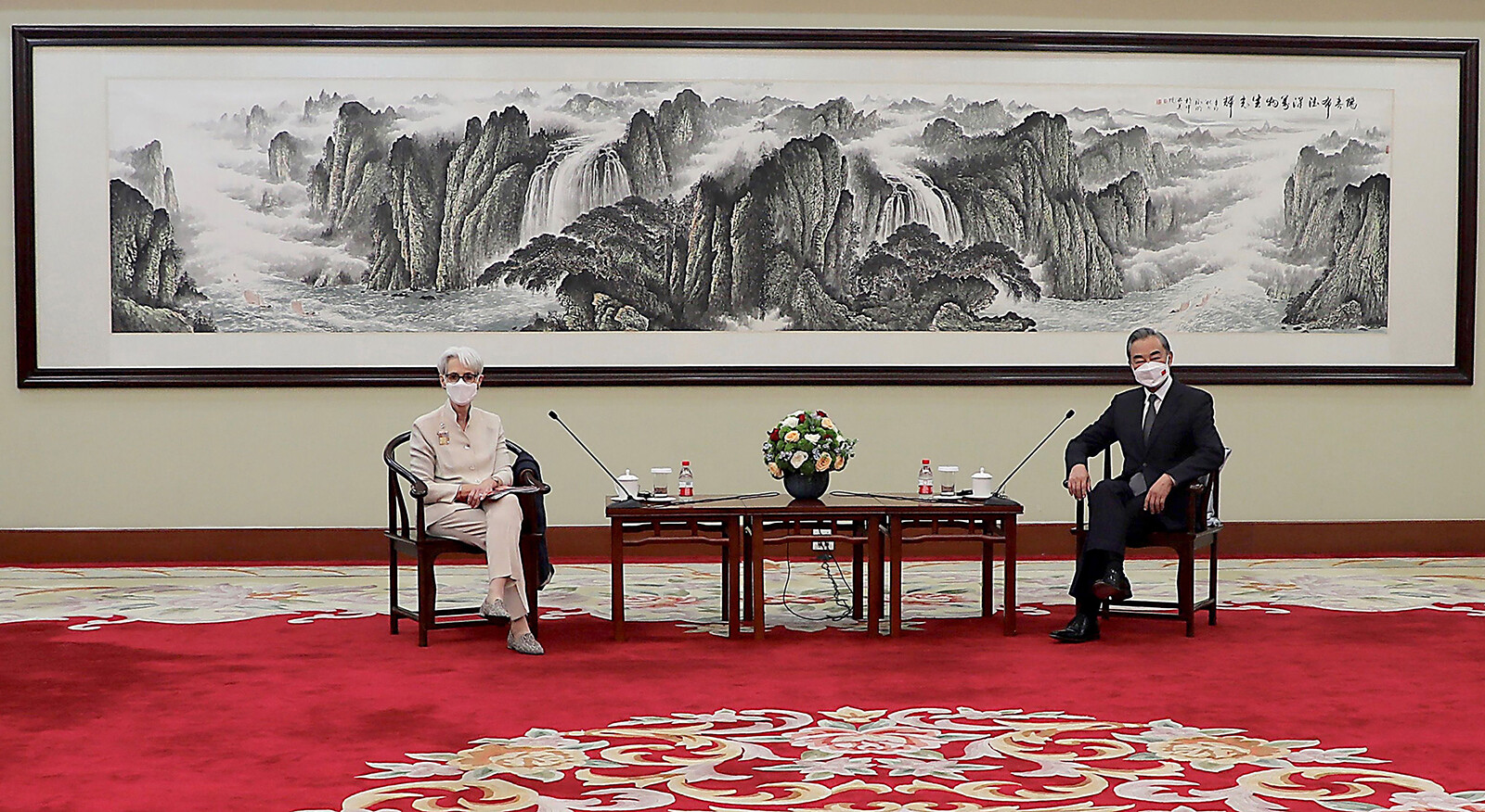<i>U.S. State Department/UPI/Shutterstock</i><br/>Deputy Secretary of State Wendy Sherman meets with Chinese Foreign Minister Wang Yi in Tianjin