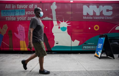 A mobile Covid-19 vaccine site in the East Flatbush neighborhood of Brooklyn.