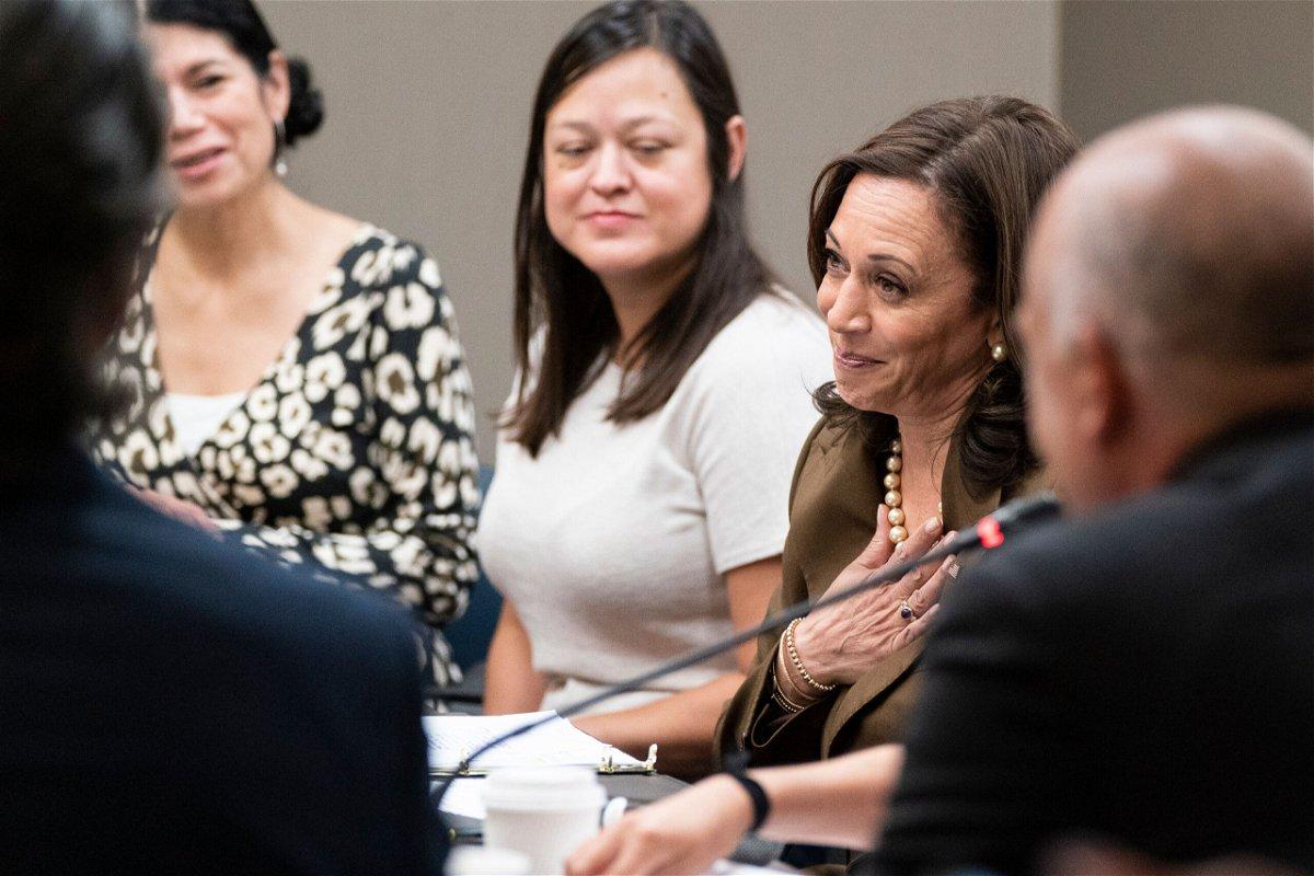 <i>Alex Brandon/AP</i><br/>Vice President Kamala Harris meets with Democrats from the Texas state legislature at the American Federation of Teachers