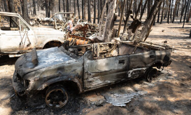 Dee McCauley surveys charred wreckage on her property on July 22 in Bly