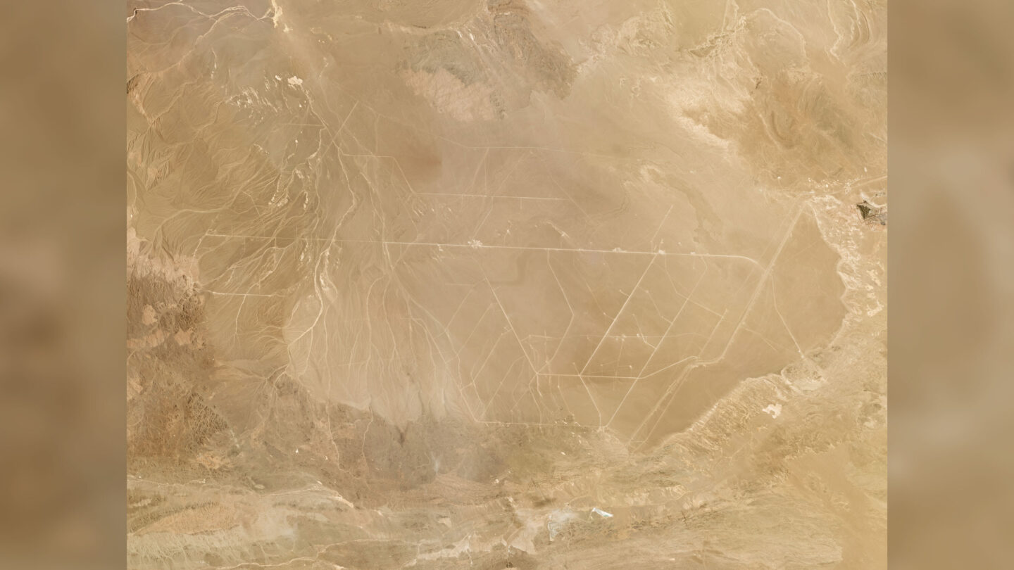 <i>Planet Labs Inc.</i><br/>Satellite view of a field of more than 100 missile silos which researchers say is under construction in the Chinese desert.