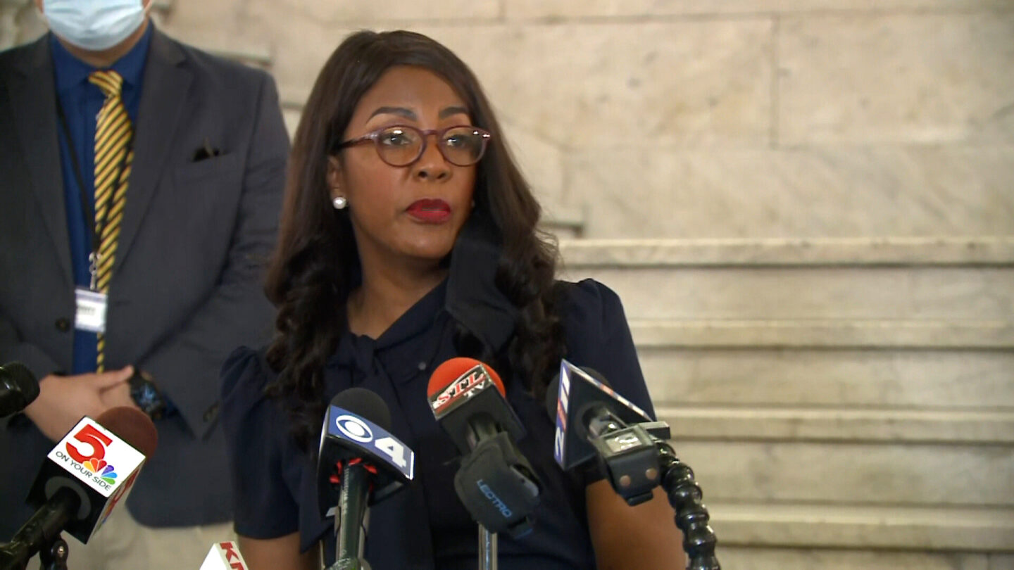 <i>KMOV</i><br/>St. Louis Mayor Tishaura Jones held a press conference on July 26 to address the city's mask mandate amid a rise in Covid cases throughout the state of Missouri.