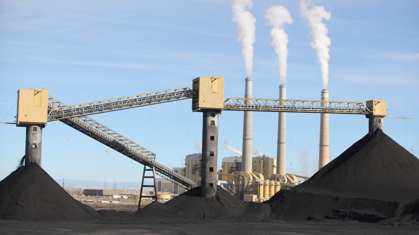 <i>George Frey/AFP/Getty Images</i><br/>A coal-fired power plant is seen in Utah in 2019. The Environmental Protection Agency announced July 26 plans to strengthen limits on coal-fired power plant pollution.