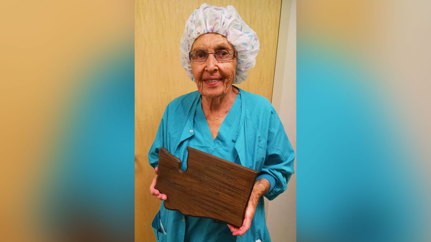<i>MultiCare Health System</i><br/>Florence 'SeeSee' Rigney is seen after receiving an award.