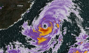 Satellite image of Typhoon In-fa located near the southern Japan islands on July 22.