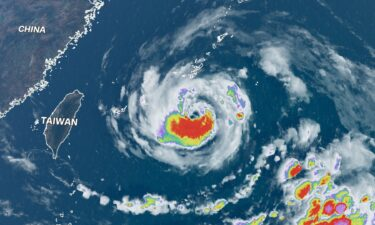 A satellite view shows Typhoon In-fa over the northwest Pacific Ocean on July 20.