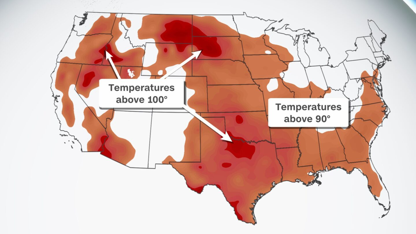 <i>CNN</i><br/>High temperatures are forecast to exceed 90 degrees across the country on July 26.