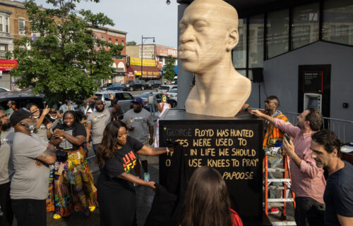 A statue of George Floyd that has been in Brooklyn's Flatbush neighborhood since Juneteenth will be moved on July 26 -- first back to the studio for refurbishment and then to Manhattan's Union Square Park in September as planned