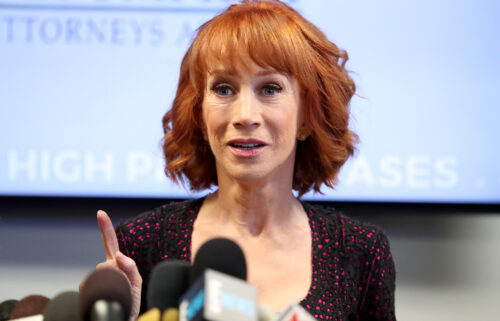 Kathy Griffin announces she has lung cancer. Griffin here speaks during a press conference at The Bloom Firm on June 2