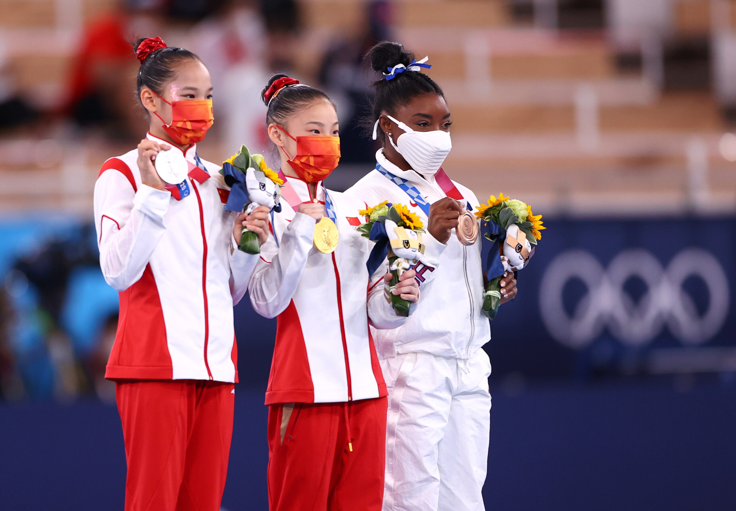 <i>Lisi Niesner/Reuters</i><br/>China's Guan Chenchen won gold in the women's balance beam final at the Tokyo Olympics as Simone Biles claimed a bronze.