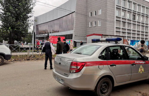 A national guard car parked at the Perm State University after a gunman opened fire on Monday.