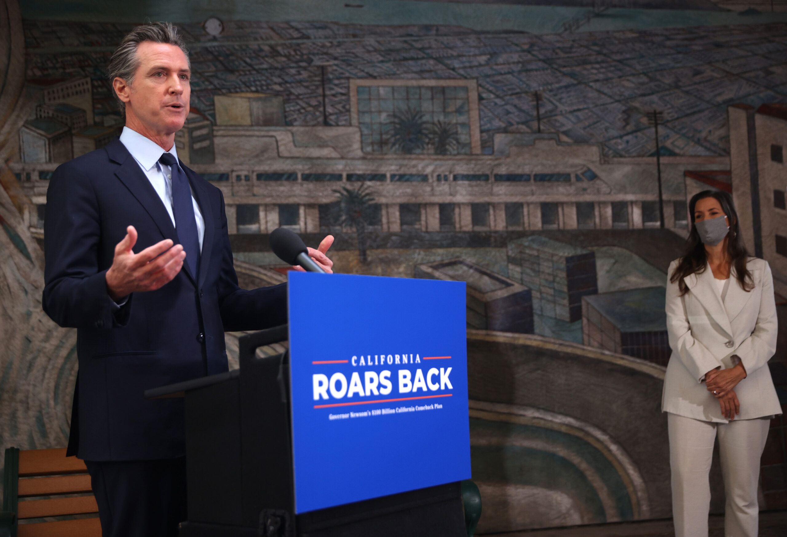 <i>Justin Sullivan/Getty Images</i><br/>California Gov. Gavin Newsom speaks during a press conference at The Unity Council on May 10