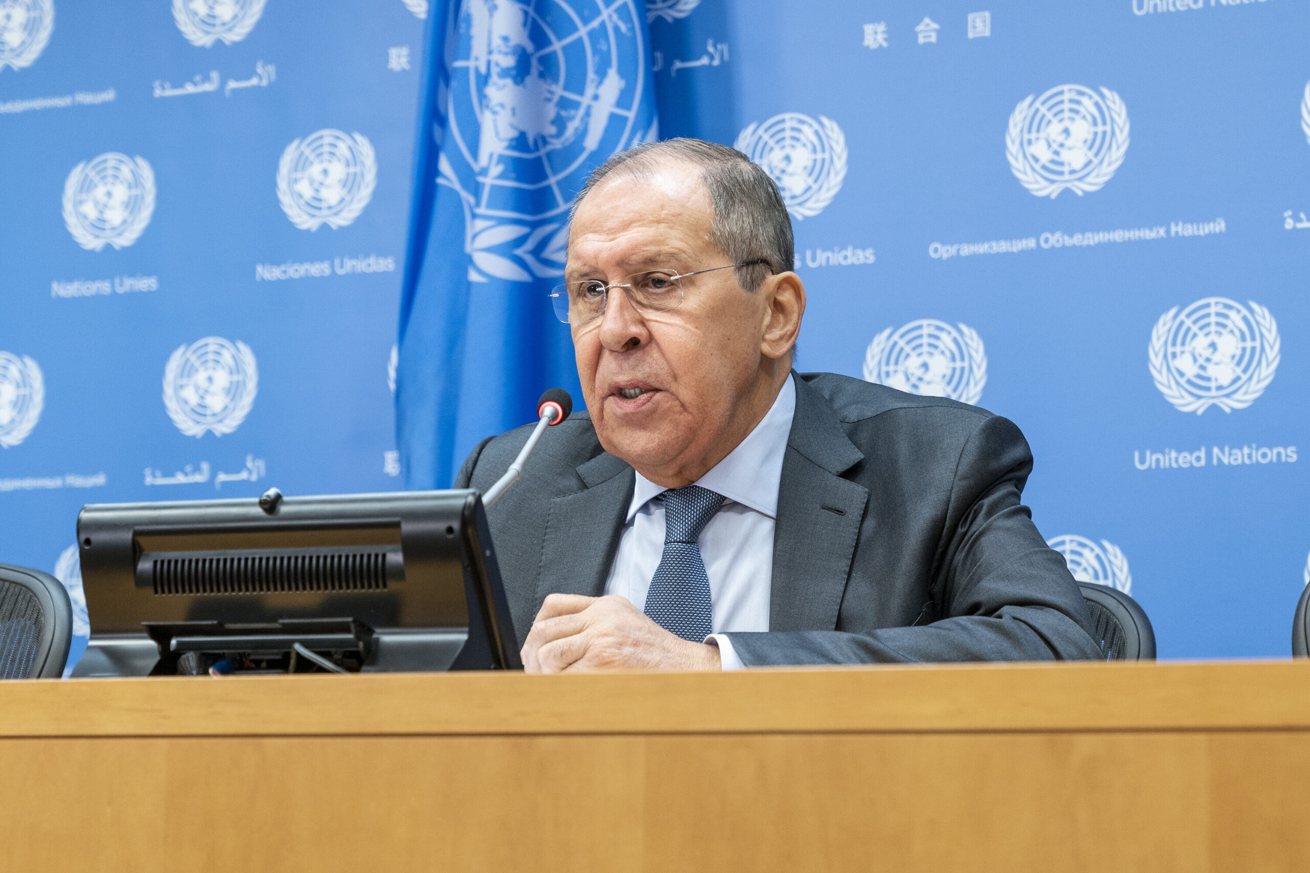 <i>Lev Radin/Pacific Press/LightRocket/Getty Images</i><br/>Press conference by Minister for Foreign Affairs of the Russian Federation Sergey Lavrov at UN Headquarters during United Nations High week.