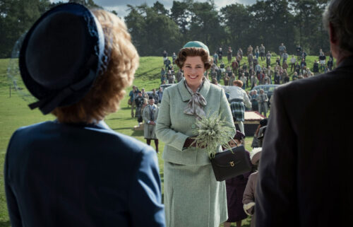 """Olivia Colman (center) won outstanding lead actress in a drama for her portrayal as Queen Elizabeth in """"The Crown"""" at the 73rd annual Emmy Awards held on September 19. 'The Crown' also won outstanding drama series"""