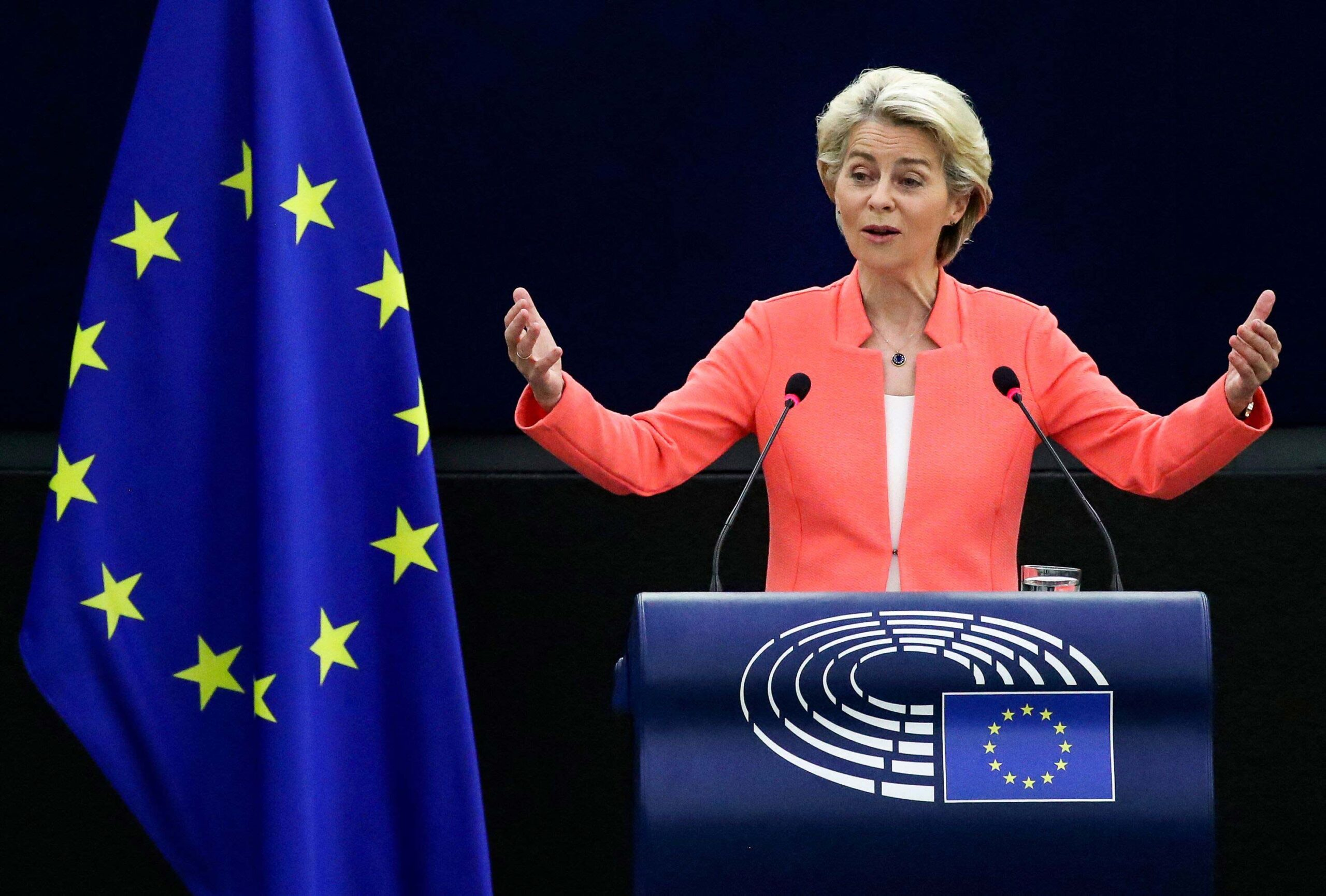 <i>YVES HERMAN/Pool/AFP/Getty Images</i><br/>European Commission President Ursula von der Leyen announced on Wednesday an additional €4 billion ($4.7 billion) in climate finance to transfer to developing nations.