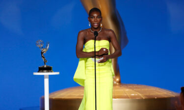 Michaela Coel from 'I May Destroy You' speaks at the 73rd Emmy Awards broadcast on Sunday.