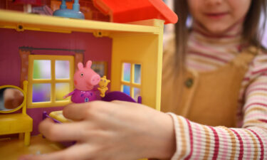 Peppa Pig toys are shown in Nuremberg