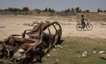 Senior Pentagon official says ISIS-K could be capable of attacking the United States next year. Pictured is a destroyed car on July 15