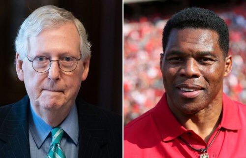 Senate Republican leader Mitch McConnell (left) is backing former football star Herschel Walker's (right) Senate bid in Georgia